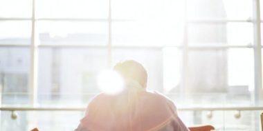 man facing sunlight